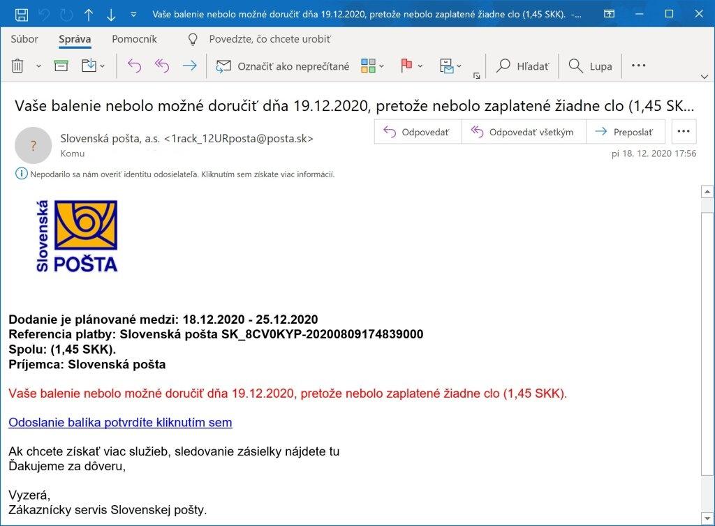 Podvodný  e-mail, tzv. phising